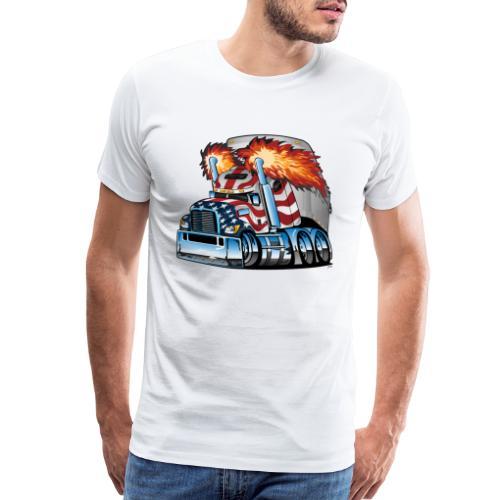 Patriotic American Flag Semi Truck Tractor Trailer - Men's Premium T-Shirt