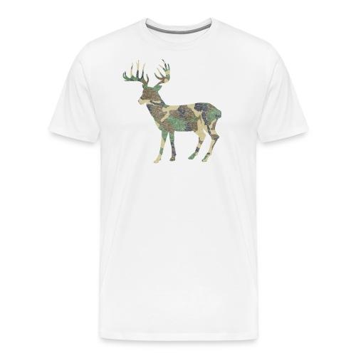 Distressed Camo Deer Silhouette T-Shirt - Men's Premium T-Shirt