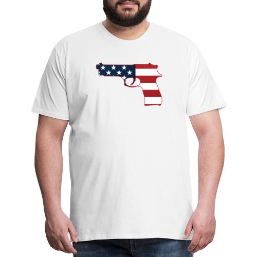Semi-automatic Stars & Stripes Handgun Silhouette - Men's Premium T-Shirt