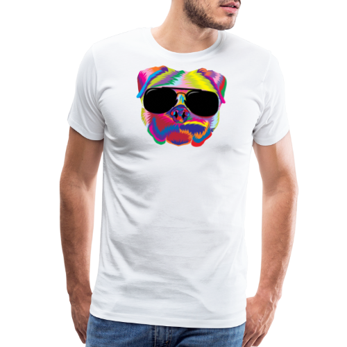 Psychedelic Pug Dog Face with Sunglasses - Men's Premium T-Shirt