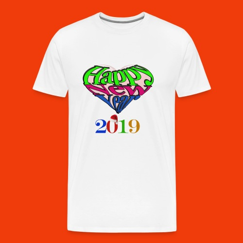 Happy new year 2019 T-shirt for all With heart - Men's Premium T-Shirt