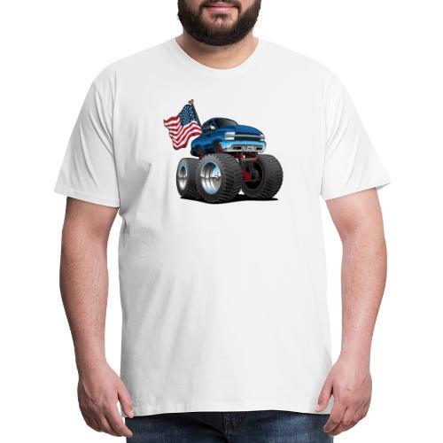 Monster Pickup Truck with USA Flag Cartoon - Men's Premium T-Shirt
