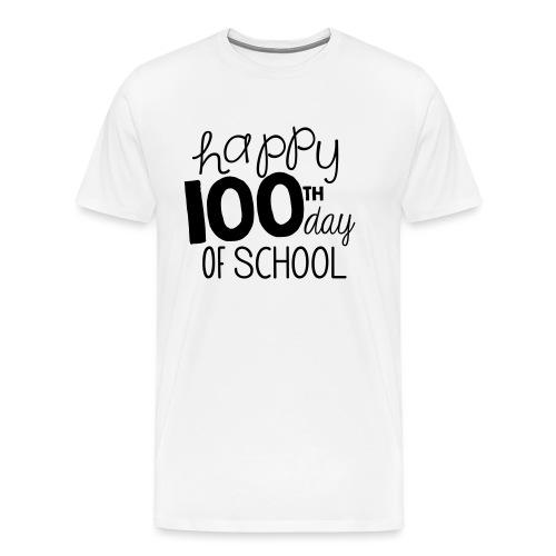 Happy 100th Day of School Chalk Teacher T-Shirt - Men's Premium T-Shirt