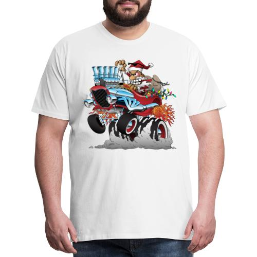 Hot Rod Santa Christmas Cartoon - Men's Premium T-Shirt