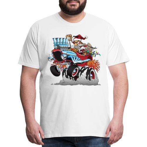 Hot Rod Santa Christmas Cartoon - Men's Premium T-Shirt