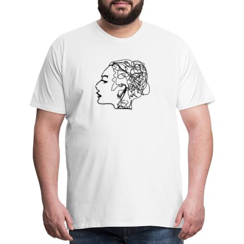 Drawing a girl from a profile - Men's Premium T-Shirt