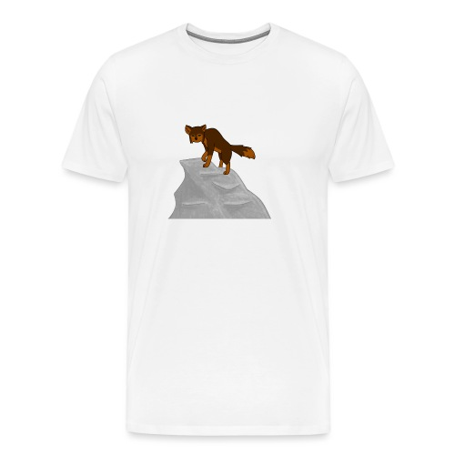 Wolf looking down on Boulder - Men's Premium T-Shirt
