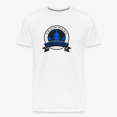 TRAIN HARD CLASSIC HOODIE - Gray & Blue - Men's Premium T-Shirt