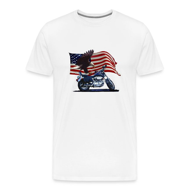 Motorcycle Zip Up Hoodie American Bald Eagle Flying Over Flag