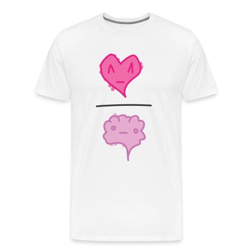 Heart Over Brain White - Men's Premium T-Shirt