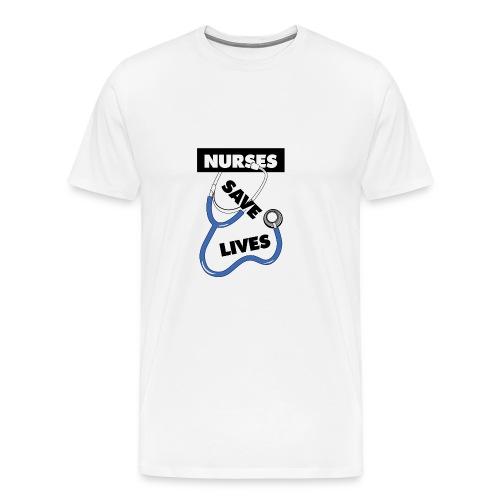 Nurses save lives blue - Men's Premium T-Shirt