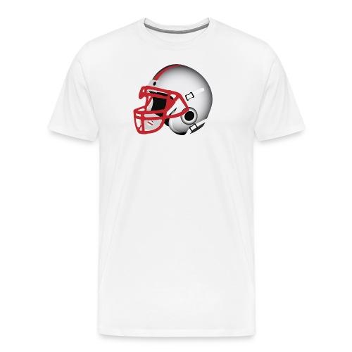 Custom Football Helmet Red on White - Men's Premium T-Shirt