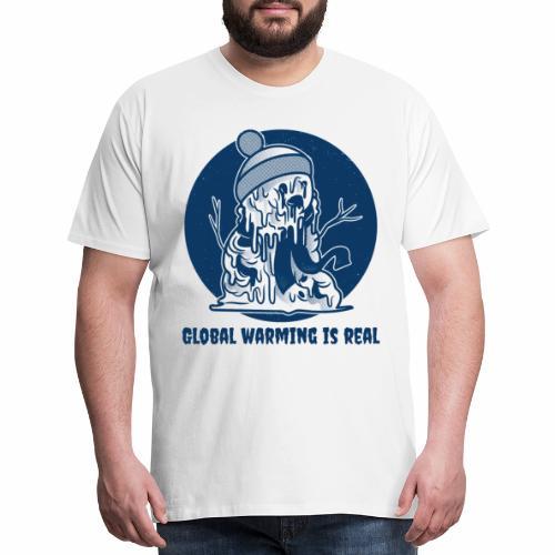 Melting Snowman | Global Warming is Real - Men's Premium T-Shirt