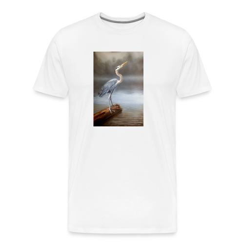 Blue Heron Wildlife Painting Print - Men's Premium T-Shirt