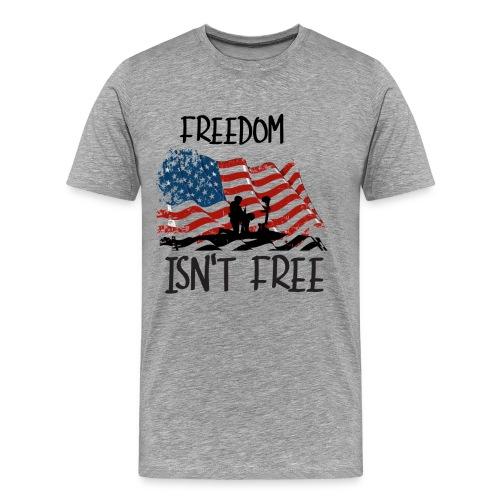 Freedom isn't free flag with fallen soldier design - Men's Premium T-Shirt