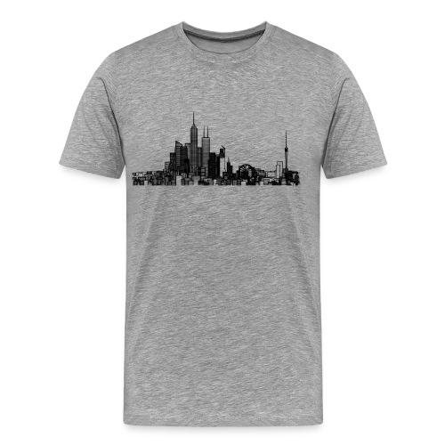 Pencil style city skyline - Men's Premium T-Shirt