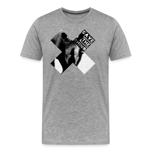 3D Save The Rhino (Black and White) - Men's Premium T-Shirt