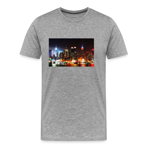 New York City Skyline at Night - Men's Premium T-Shirt