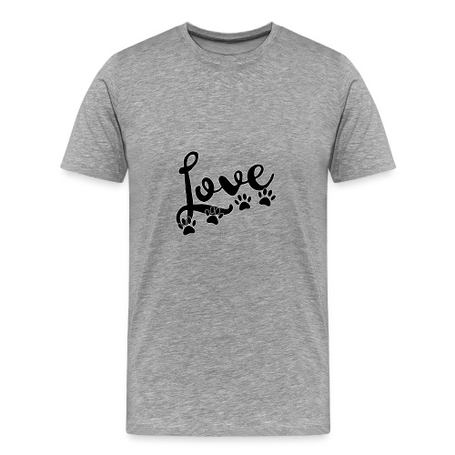 love typography with 4 dog paw prints - Men's Premium T-Shirt