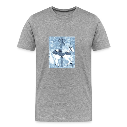 Carousel Horse Merry Go Round Blue Gray - Men's Premium T-Shirt