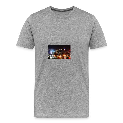 New York City Skyline at Night - Men's Premium T-Shirt