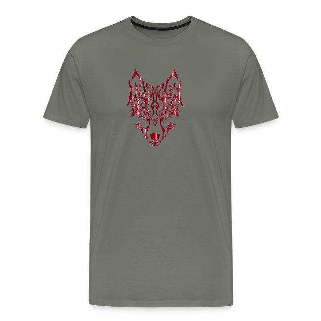 Crimson Symmetric Tribal Wolf No Background