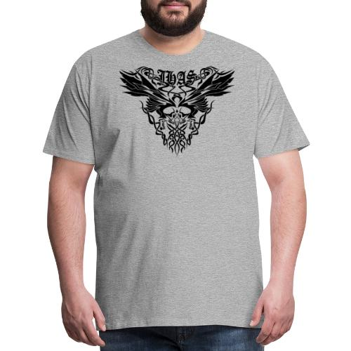 Vintage JHAS Tribal Skull Wings Illustration - Men's Premium T-Shirt