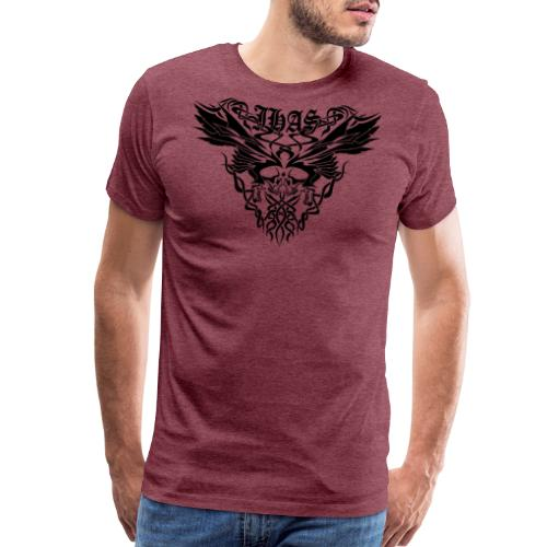 Vintage JHAS Tribal Skull Wings Illustration - Men's Premium T-Shirt