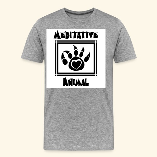 B&W Meditative Animal Paw - Men's Premium T-Shirt