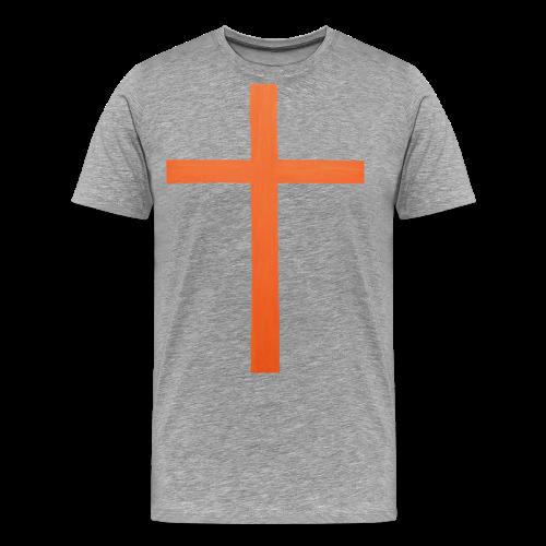 Orange Cross Jesus Rock Design AVE - Men's Premium T-Shirt