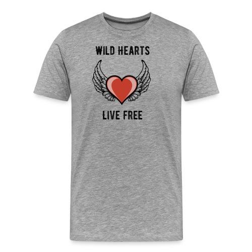 Wild Hearts Live Free Biker Retro Winged Heart - Men's Premium T-Shirt