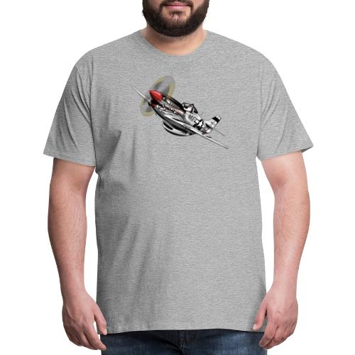 P-51 Mustang WWII Airplane Cartoon Illustration - Men's Premium T-Shirt