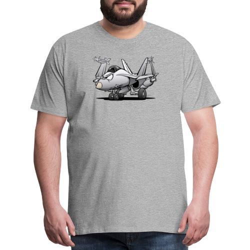 Military Naval Fighter Jet Airplane Cartoon - Men's Premium T-Shirt