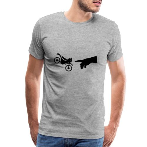 The hand of god brakes a motorcycle as an allegory - Men's Premium T-Shirt