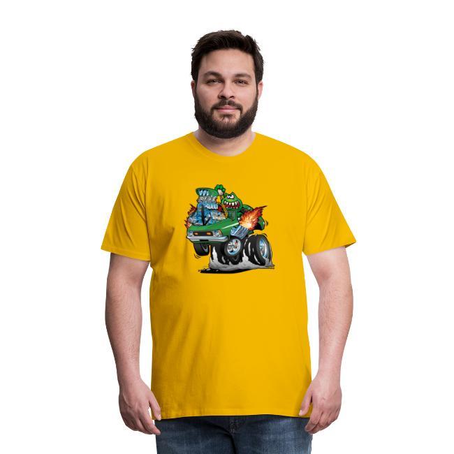Seventies Green Hot Rod Funny Car Cartoon