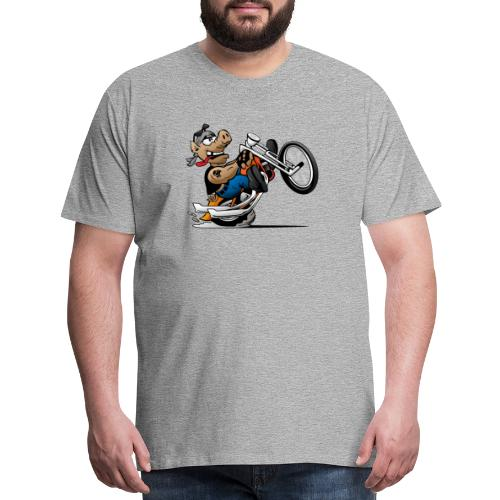Biker Hog Motorcycle Cartoon - Men's Premium T-Shirt