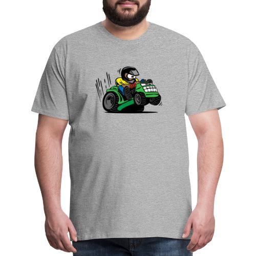 Racing Lawn Mower Cartoon - Men's Premium T-Shirt