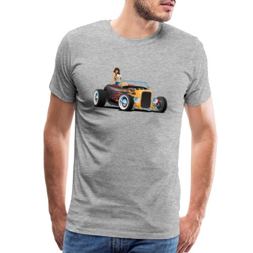 Custom Hot Rod Roadster Car with Flames and Sexy W - Men's Premium T-Shirt