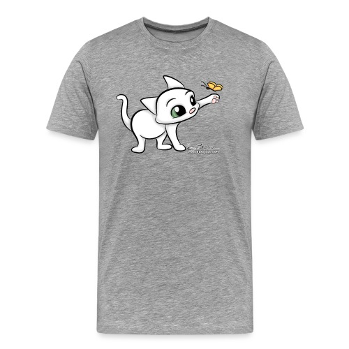 Cat with Butterfly - Men's Premium T-Shirt