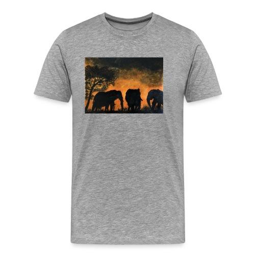 Elephants at sunset - Men's Premium T-Shirt