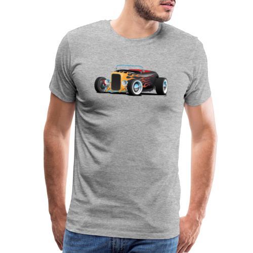 Custom Hot Rod Roadster Car with Flames - Men's Premium T-Shirt
