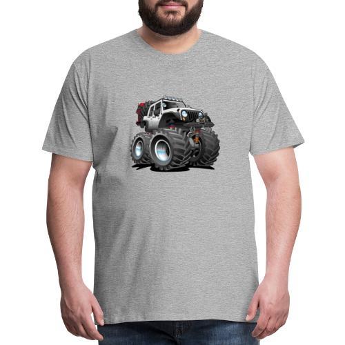 Off road 4x4 white jeeper cartoon - Men's Premium T-Shirt