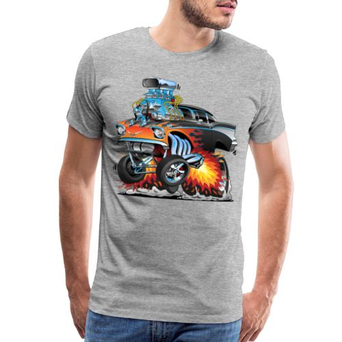 Classic hot rod 57 gasser dragster car cartoon - Men's Premium T-Shirt