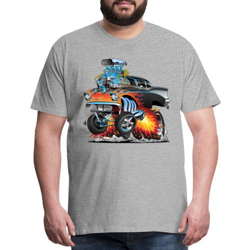 Classic hot rod 57 gasser dragster car cartoon - Men's Premium T-Shirt
