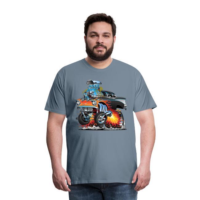 Classic hot rod 57 gasser dragster car cartoon