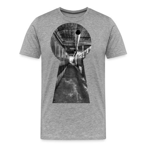 silk mill keyhole bw final - Men's Premium T-Shirt
