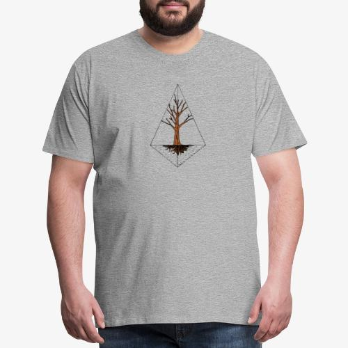 Hand drawn tree in a kite shaped outline - Men's Premium T-Shirt