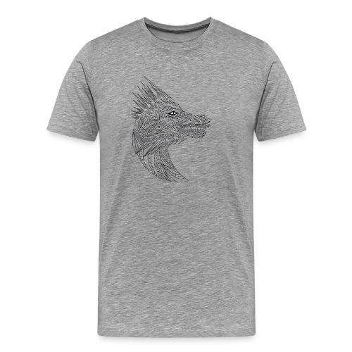 black art deco dragon head - Men's Premium T-Shirt