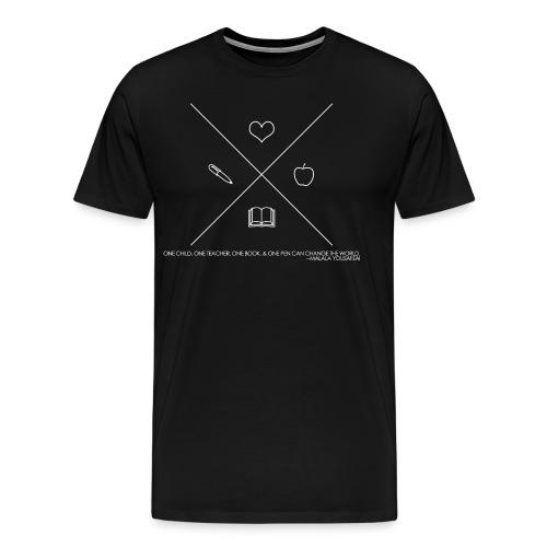 One Book, One Pen Cross Logo - White - Men's Premium T-Shirt