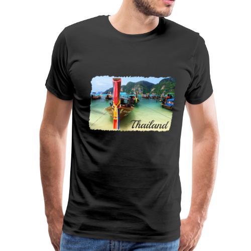 Thailand, Longtail Boats - Men's Premium T-Shirt
